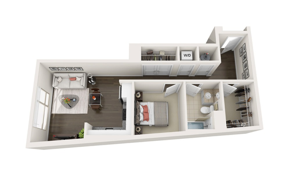Element A6 - 1 bedroom floorplan layout with 1 bath and 691 square feet.