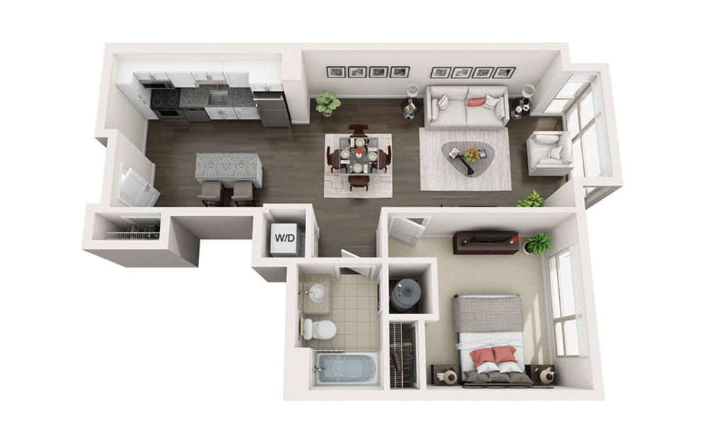 Element A7 - 1 bedroom floorplan layout with 1 bath and 726 square feet.
