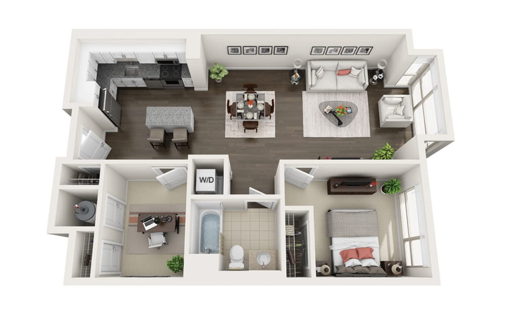 Element B1 - 1 bedroom floorplan layout with 1 bath and 865 square feet.
