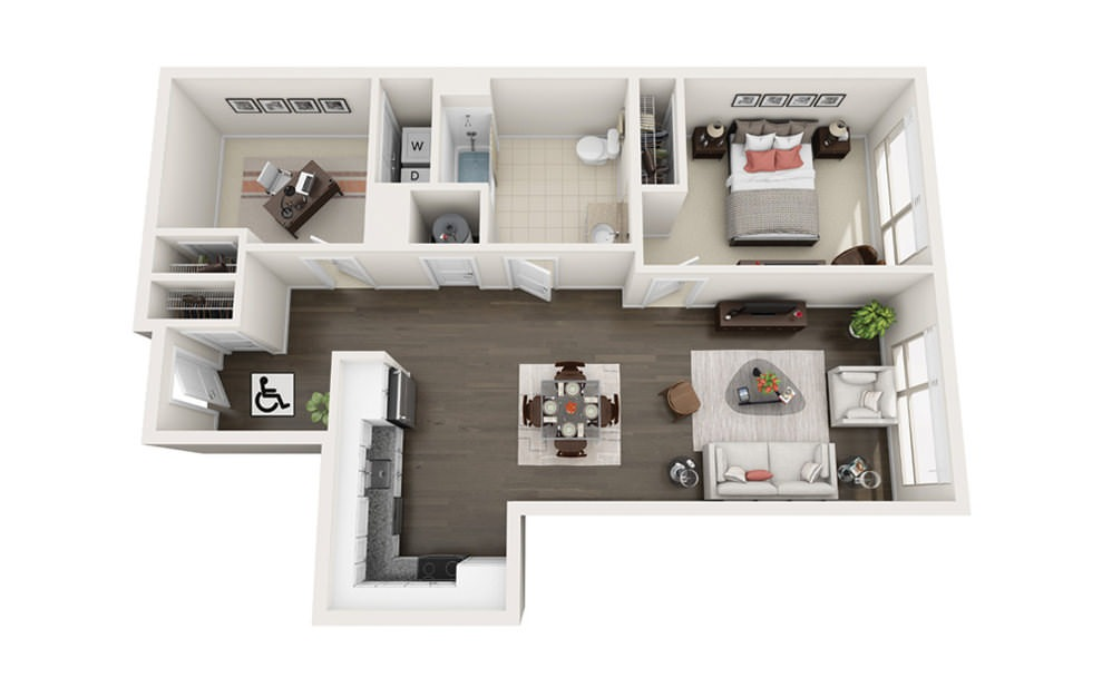 Element B2.HC - 1 bedroom floorplan layout with 1 bath and 914 square feet.