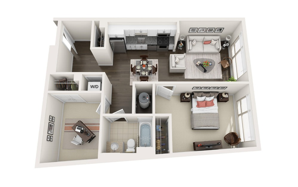 Element B3 - 1 bedroom floorplan layout with 1 bath and 842 square feet.