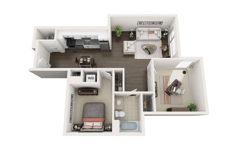 Element B4 - 1 bedroom floorplan layout with 1 bath and 836 square feet.