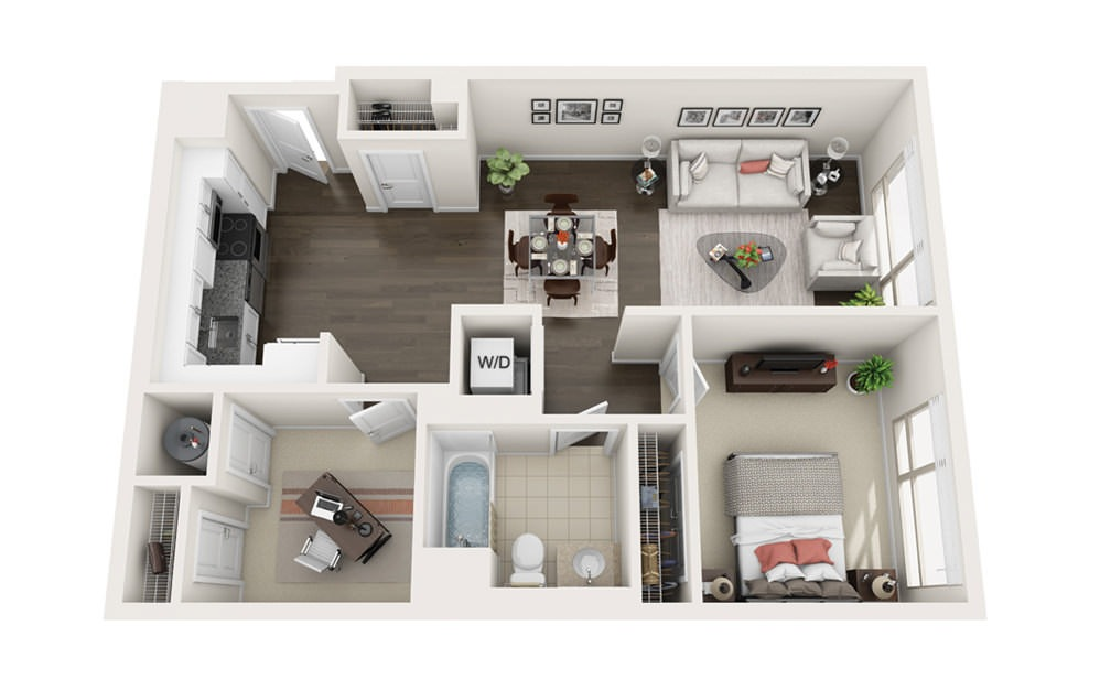 Element B5 - 1 bedroom floorplan layout with 1 bath and 781 square feet.
