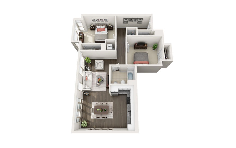 Element B7 - 1 bedroom floorplan layout with 1 bath and 1026 square feet.