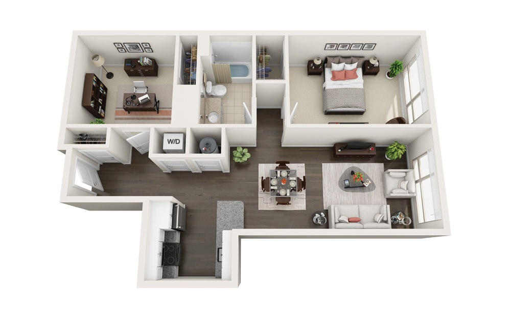 Element B8 - 1 bedroom floorplan layout with 1 bath and 915 square feet.