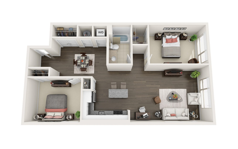 Element C1 - 2 bedroom floorplan layout with 1 bath and 1122 square feet.