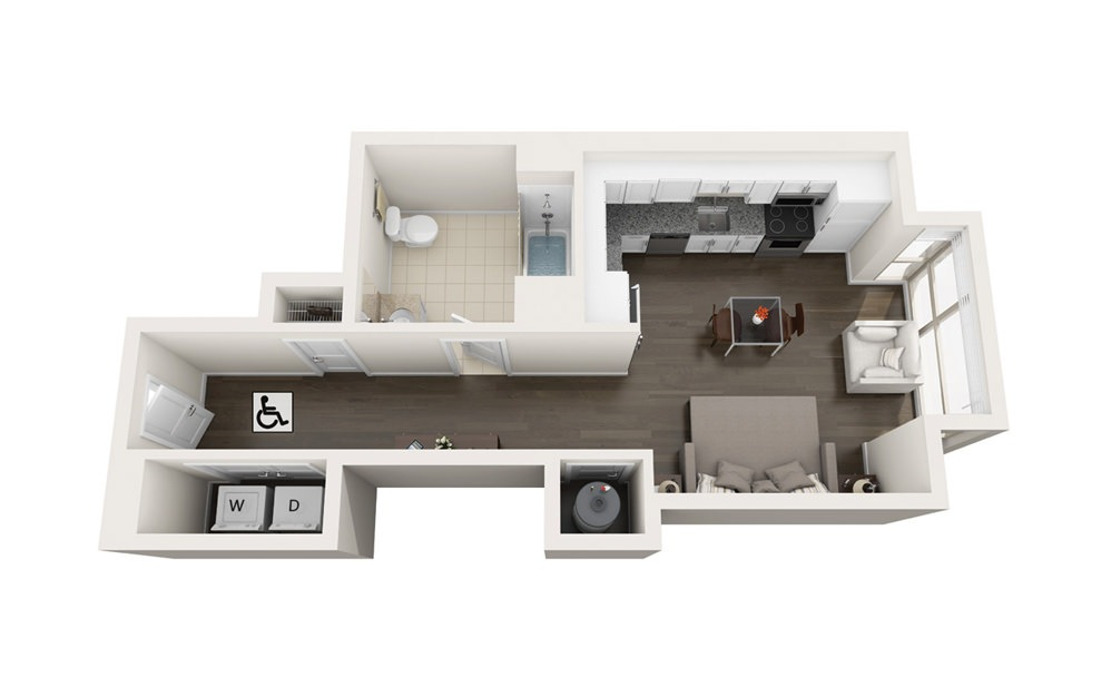 Element S1.HC - Studio floorplan layout with 1 bath and 501 square feet.